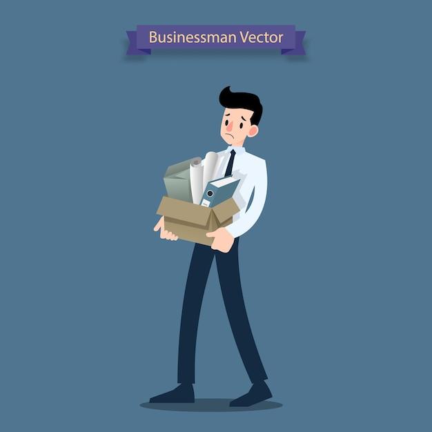 Rozczarowanie Biznesmen Staje Się Bezrobotnym. Premium Wektorów