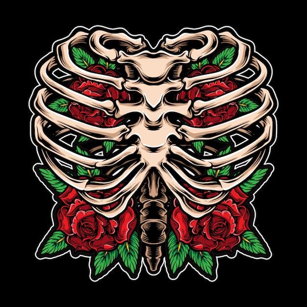 Róże kwitną wewnątrz szkieletu Premium Wektorów