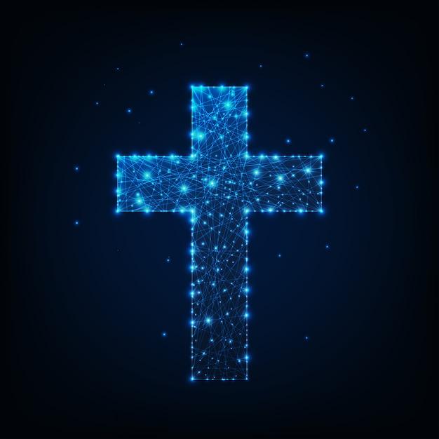 Rozjarzony niski poligonalny religijny chrześcijański krzyż. Premium Wektorów