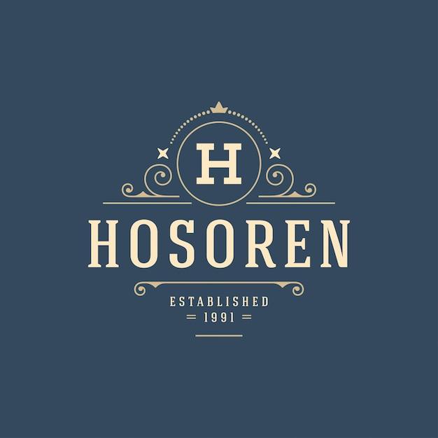 Rozkwita kaligraficzna monogram logo szablon luksusowy kontur ornament Premium Wektorów