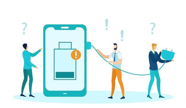 Rozładowane źródło zasilania w telefonie, słaba bateria. Premium Wektorów