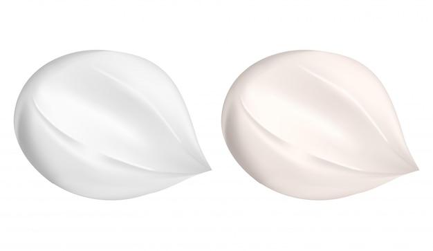 Rozmaz kremowy. kropla balsamu kosmetycznego. biały krem nawilżający Premium Wektorów