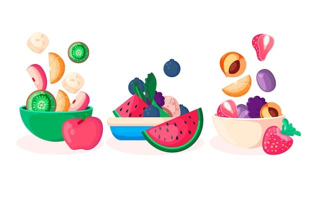 Rozmieszczenie Pojemników Na Owoce I Sałatki Darmowych Wektorów