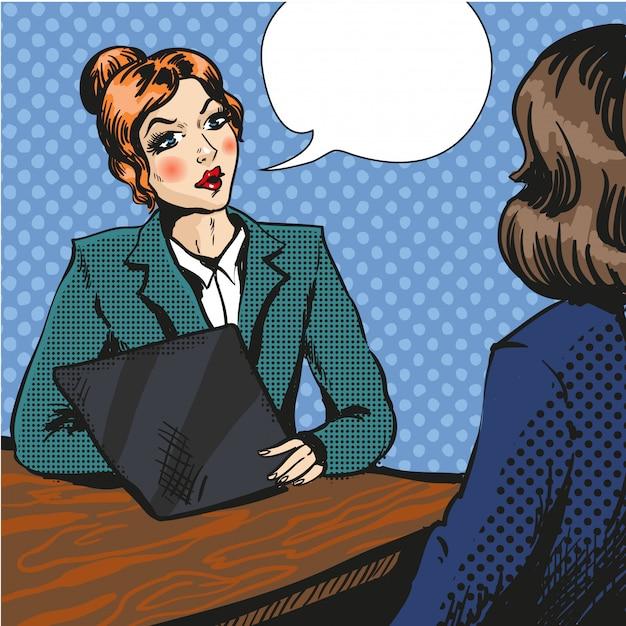 Rozmowa kwalifikacyjna ilustracja pop-artu Premium Wektorów