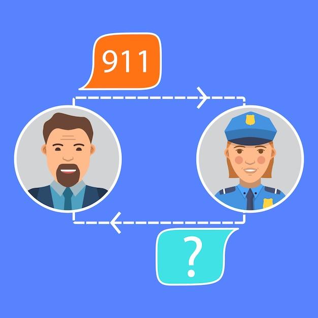 Rozmowa Policjanta Z Mężczyzną Premium Wektorów