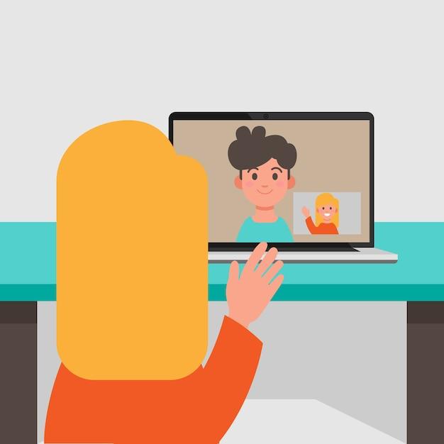 Rozmowy Wideo Między Chłopakiem A Dziewczyną Darmowych Wektorów
