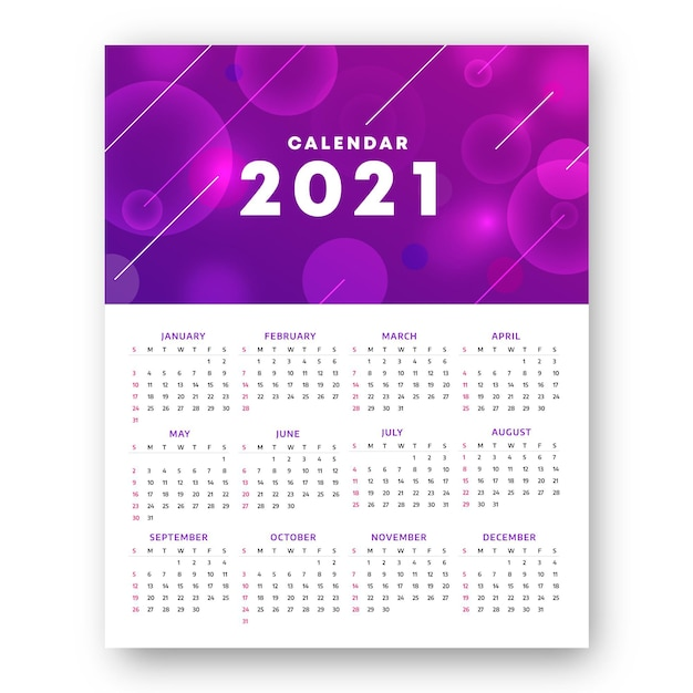 Rozmyty Kalendarz Na Nowy Rok 2021 Premium Wektorów
