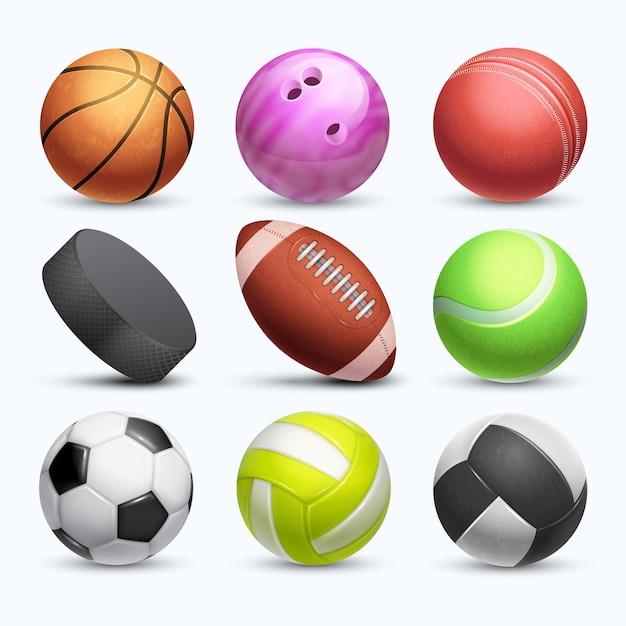 Różne 3d piłki sportowe kolekcja wektor na białym tle Premium Wektorów