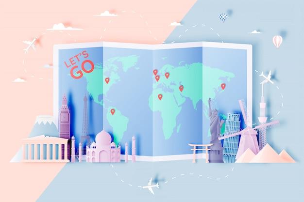 Różne atrakcje turystyczne w stylu sztuki papierowej Premium Wektorów