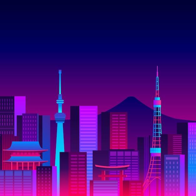 Różne Budynki Panoramę Tokio Z Neonów Darmowych Wektorów