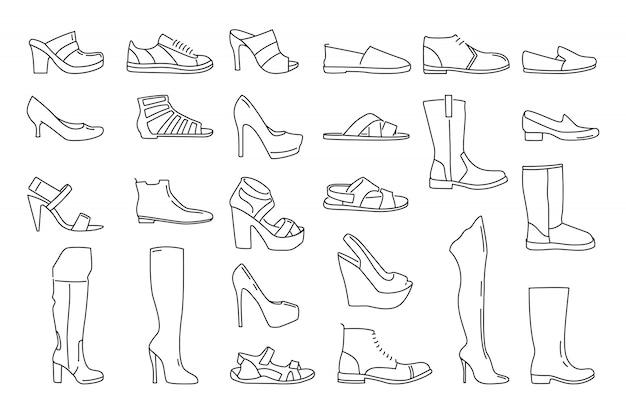 Różne Buty Dla Kobiet I Mężczyzn. Premium Wektorów