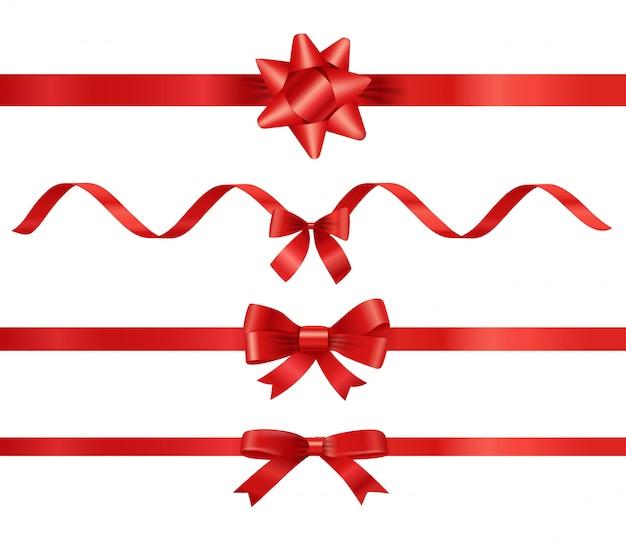 Różne Czerwone Wstążki Zestaw Na Białym Tle Premium Wektorów