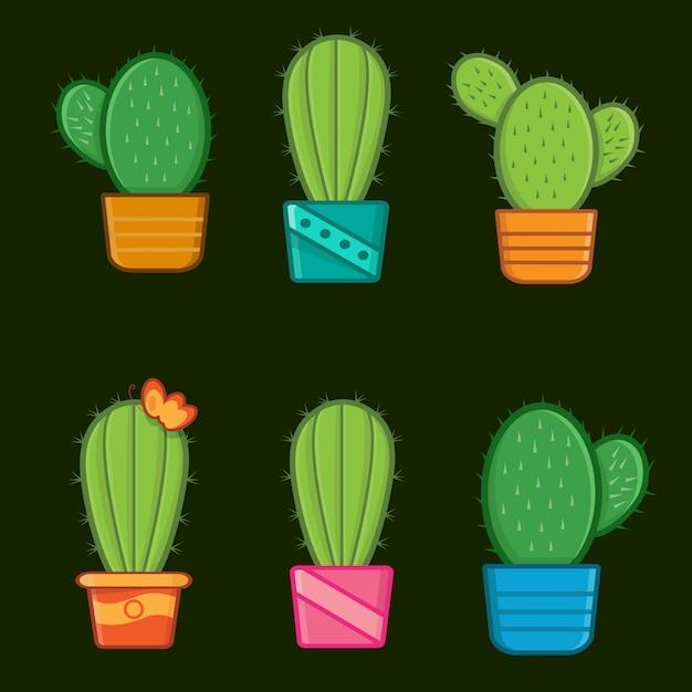 Różne Drzewa Kaktusów Premium Wektorów