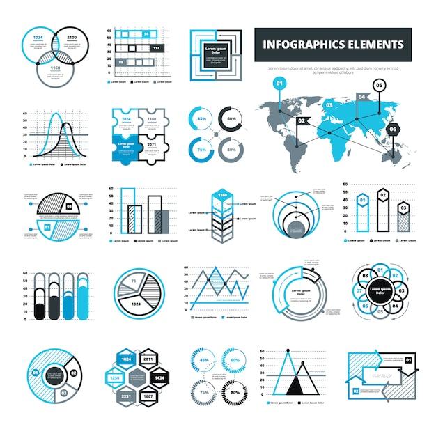 Różne elementy infographic Darmowych Wektorów