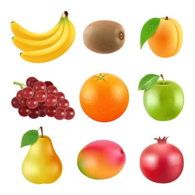Różne ilustracje owoców. realistyczne zdjęcia wektorowe izolują Premium Wektorów