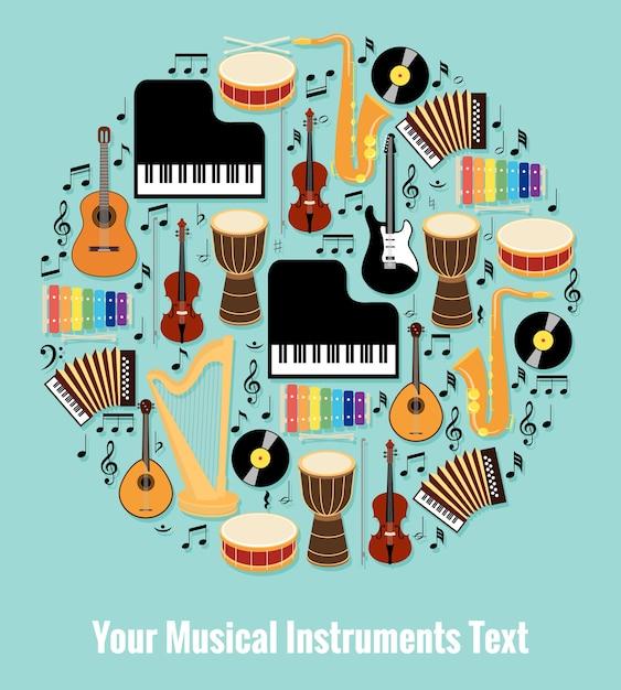 Różne Instrumenty Muzyczne W Formie Okrągłej Z Edytowalnym Obszarem Tekstowym. Na Białym Tle Na Jasnoniebieskim Tle Nieba. Darmowych Wektorów