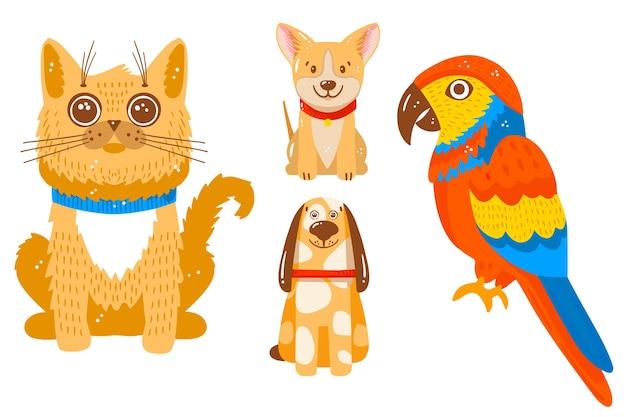 Różne Kolekcje Zwierząt Domowych Darmowych Wektorów