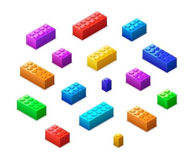 Różne Kolorowe Klocki Lego W Widoku Izometrycznym Na Białym Tle Premium Wektorów