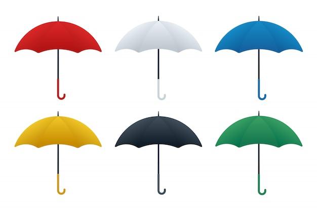 Różne kolory ikon parasolowych Premium Wektorów