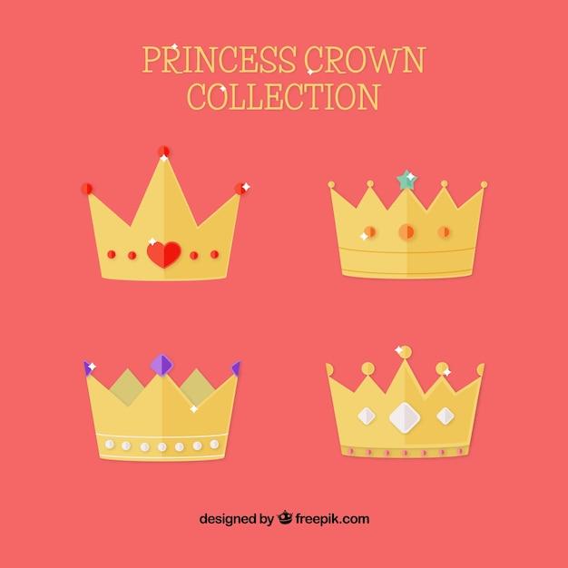 Różne Korony Księżniczki W Płaskim Stylu Darmowych Wektorów
