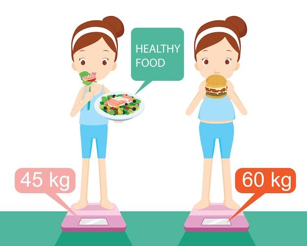 Różne Kształty Dziewczyny, Między Jedzeniem Zdrowej żywności Z Bezużyteczną żywnością Premium Wektorów