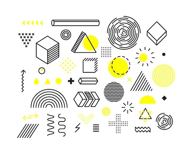 Różne Kształty Geometryczne Zestaw Na Białym Tle Premium Wektorów