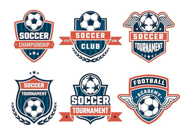 Różne logo klubu piłkarskiego lub zestaw etykiet Premium Wektorów