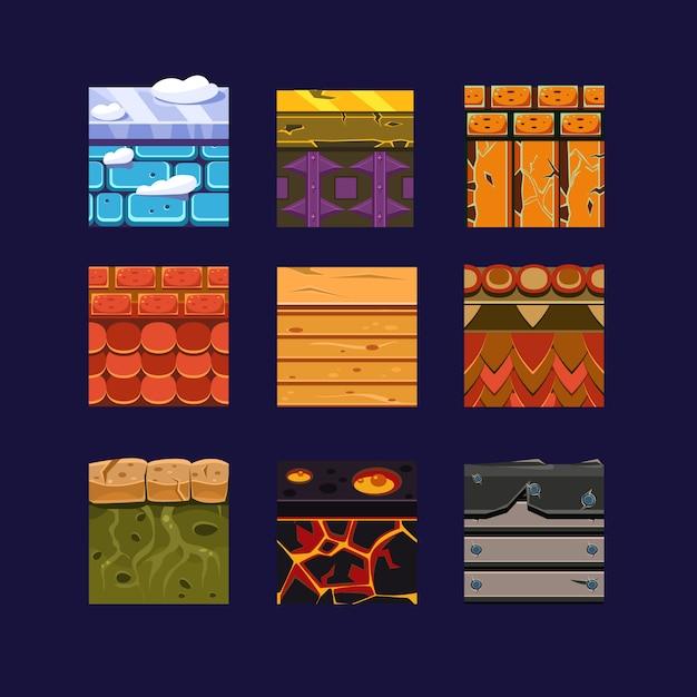 Różne Materiały I Tekstury Do Gry Premium Wektorów