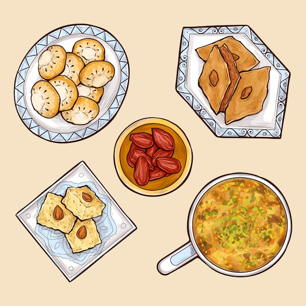 Różne orientalne słodycze kreskówka wektor zbiory Darmowych Wektorów