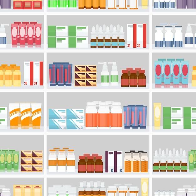 Różne Pigułki I Leki Na Sprzedaż Wystawiać Na Półkach Aptecznych. Zaprojektowany W Bezszwowym Szarym Tle. Darmowych Wektorów
