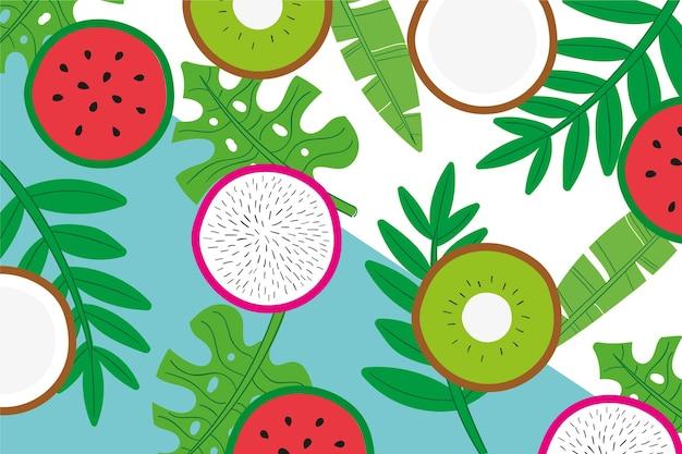 Różne Plastry Owoców I Liści Darmowych Wektorów