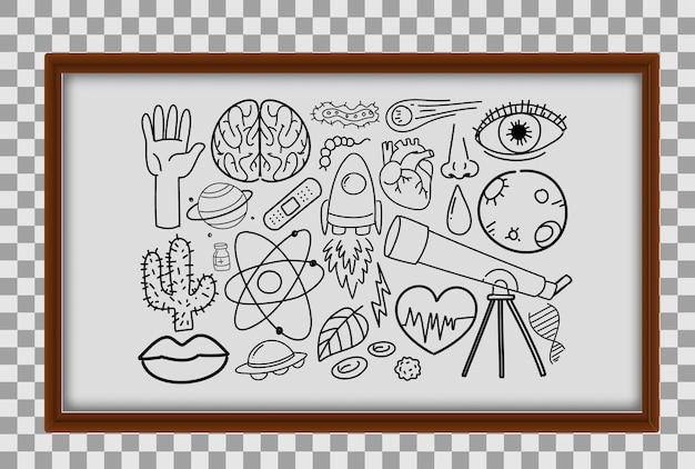 Różne Pociągnięcia Doodle O Sprzęt Do Nauki W Drewnianej Ramie Na Przezroczystym Tle Premium Wektorów