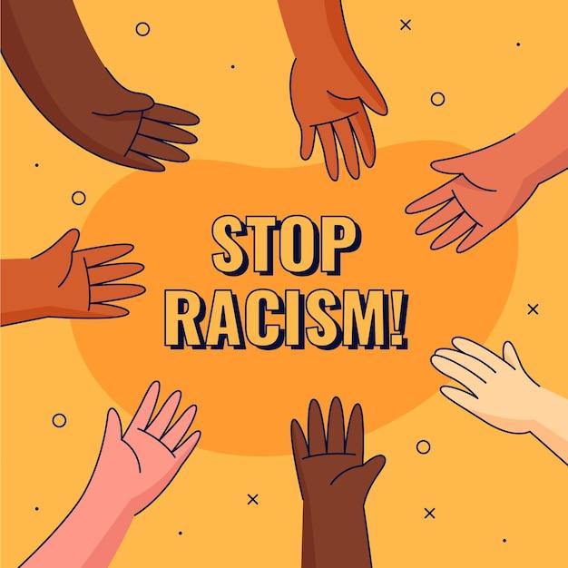 Różne Ręce Postaci Powstrzymują Rasizm Premium Wektorów