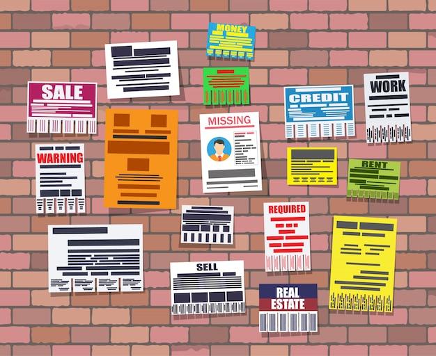 Różne Reklamy Oderwać Papiery Na ścianie Z Cegły Premium Wektorów
