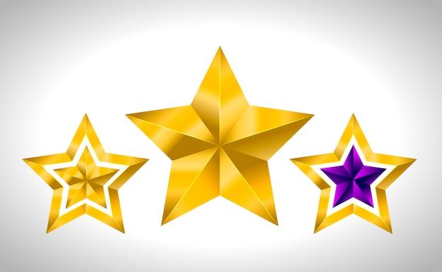 Różne Rodzaje I Formy Złotych Gwiazd. Ilustracja Na Białym Tle Premium Wektorów