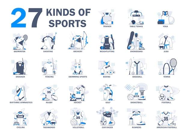 Różne Rodzaje Kolekcji Ilustracji Sportowych. Sportowiec, Zawody Premium Wektorów