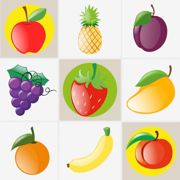 Różne rodzaje owoców Darmowych Wektorów