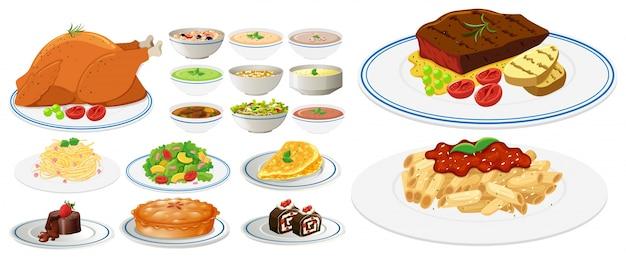 Różne Rodzaje żywności Na Talerzach Premium Wektorów