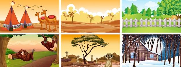 Różne Sceny Ze Zwierzętami I Przyrodą Darmowych Wektorów