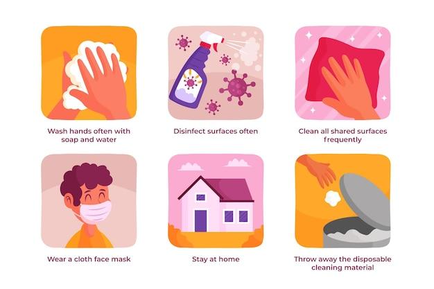 Różne Skuteczne Sposoby Zapobiegania Koronawirusowi Darmowych Wektorów