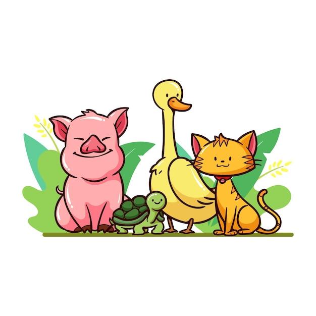 Różne Słodkie Zwierzaki Na Zewnątrz Darmowych Wektorów