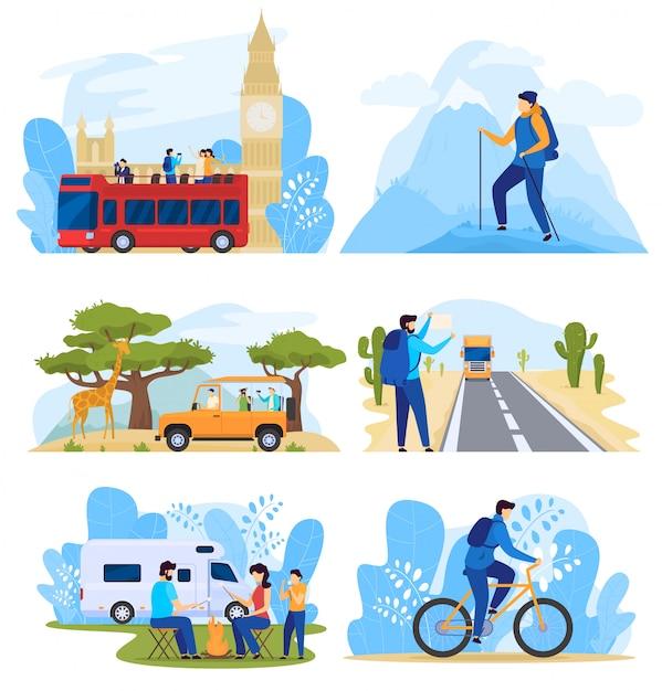 Różne Sposoby Podróżowania, Ludzie Na Aktywnych Wakacjach, Zestaw Ilustracji Premium Wektorów