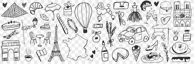 Różne Symbole Francuskie Zbiory Zestaw. Kolekcja Ręcznie Rysowane Eklery Herbatniki Ser Szampan, Samochody, Architektura, Akcesoria Modowe, Bagietka, Psy, Perfumy Na Białym Tle Premium Wektorów