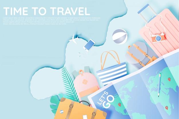 Różne torby i bagaż do podróży w stylu papierowym i pastelowym kolorze Premium Wektorów