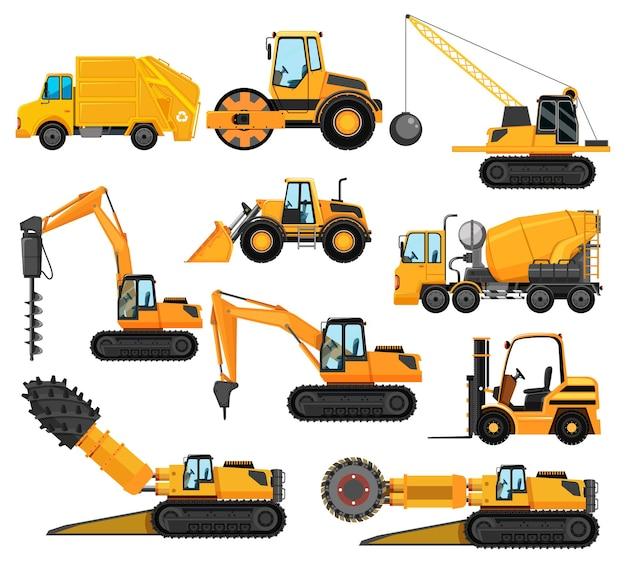 Różne Typy Pojazdów Budowlanych Darmowych Wektorów