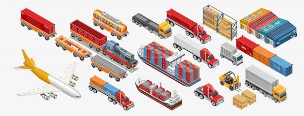 Różne urządzenia do transportu i przechowywania towarów Premium Wektorów