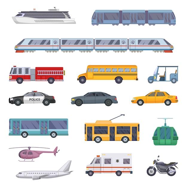 Różne zestaw transportu miejskiego. Premium Wektorów