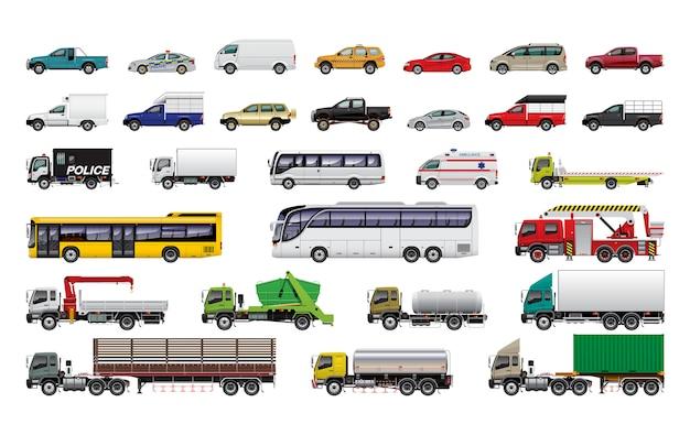 Różne Zestawy Samochodowe Premium Wektorów