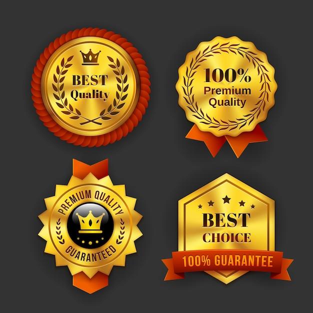 Różne Złote Gwarantowane Etykiety Biznesowe Na Białym Tle Na Szarym Tle. Darmowych Wektorów