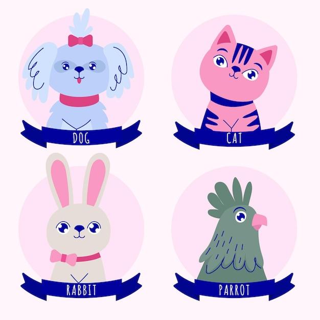 Różne Zwierzęta Z Niebieskimi Wstążkami Darmowych Wektorów